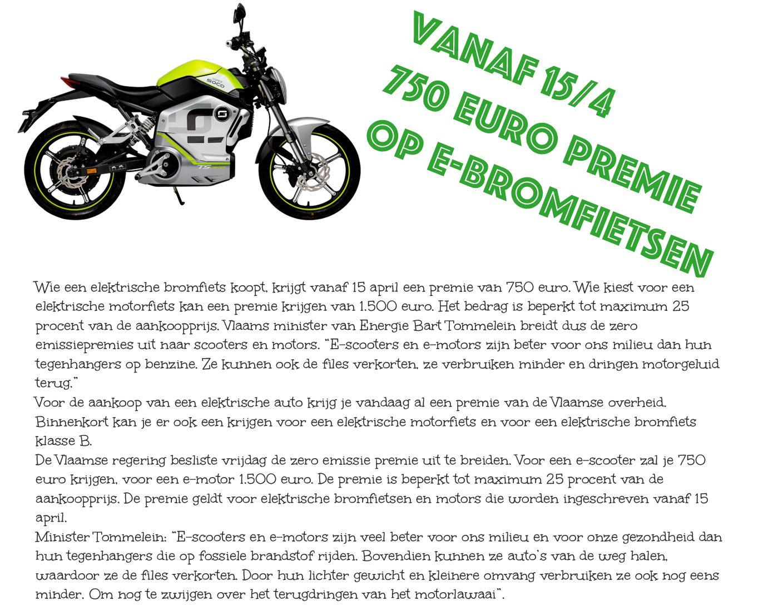 Premie voor electrische scooters en motors